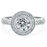 BERRICLE Sterling Silver Round Cubic Zirconia CZ Halo Engagement Ring 1.58 CTW