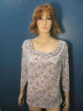 XL white tan pink blue multi-color floral stretchy loose neck blouse by LINK