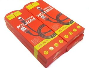4x HOCO X26 USB Daten Ladekabel USB Typ C Schwarz Rot Nylon 1 Meter Restposten
