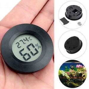 LED Digital Cigar Humidor Hygrometer Thermometer Round Morden Face Black C9N0