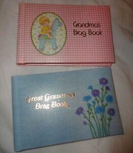 Lot of 2 Vtg  Grandma's / Great Grandma's  Brag Book Mini Portable Photo Album