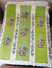 Vintage Hand Cross Stitch Knit Crochet Fringed Throw Blanket Greenery Rose 60x68