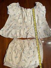 New listing Vtg Girls Sleepware Pajamas Night Gown Pjs White w/ blue yellow Ruffles 1950's