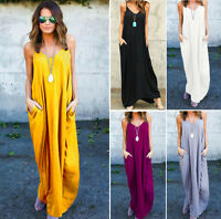 Womens Ladies Hippie Summer V Neck Sleeveless Baggy Casual Loose Long Maxi Dress