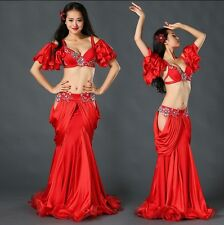 2017 Professional Belly Dancing Costumes Set Performance Diamond 5PCS Bra Skirt