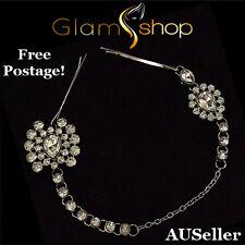 Fashion women's silver diamantee hair jewellery, hair cuff chain, pin headpiece