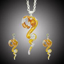 Viper Snake Necklace Earring Set Rhinestone Crystal Yellow Enamel Vivid Cocktail