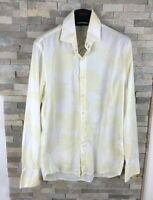 Kenneth Cole Mens Size L Yellow Floral Long Sleeve Shirt