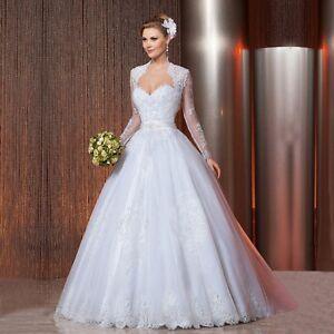 New Lace Tulle wedding dress + Long Sleeves bolero set, custom made,UK size 4-28