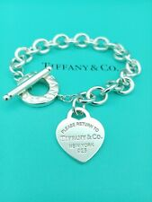 "Genuine Return To Tiffany & Co Silver Heart Tag Toggle Bracelet 8"" VG Condition"