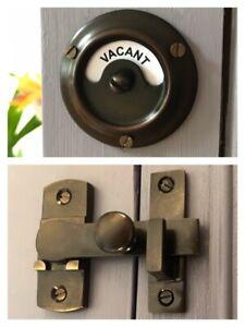 ANTIQUE FINISH TOILET BATHROOM LOCK VACANT ENGAGED BOLT INDICATOR DOOR RESTROOM