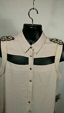 Women's Large Sleeveless Cut Out Blouse Crystal Epaulettes Rachel Roy Pale Pink