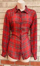 PAPAYA RED CHECK TARTAN CHIFFON BUTTONED CAMI  BLOUSE  TOP T SHIRT TUNIC 10 S