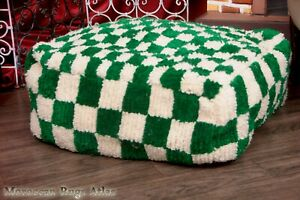 Lovely Pouf Cactus Handmade Footstool Shaggy Ottoman Pouf Checkred Cover Square