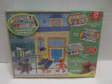 Sesame Street 3 Wood Puzzles Cardinal #8393 With Wood Storage Box Nib 2012!