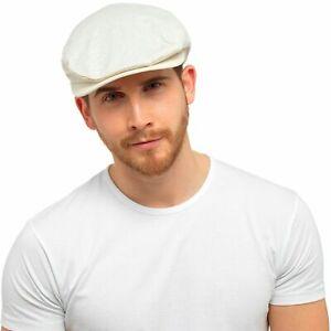 Mens Lightweight Linen Cotton Flat Cap Traditional Peaked Hat Bunnet Dai Cap