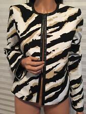 $2200 NWT Auth. GUCCI Tiger Animal Print Cotton Canvas Leather Trim Jacket sz 42