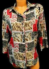 Allison daley brown red paisley floral damask animal print long sleeve top 14