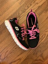 SKECHERS Black Pink Sneakers Size 8 Tennis Flexible Athletic Lace Shoes Walk EUC