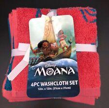 Disney Moana 4 Piece Washcloth Set Blue/Red New