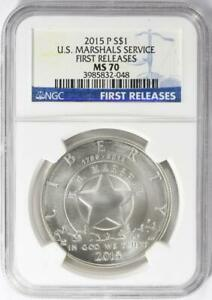 2015-P US Marshals Service Commemorative Silver Dollar - NGC Mint State 70