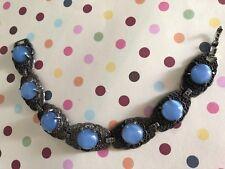 Vintage Silver Tone Blue Moonglow Filigree Seven Link Retro Bracelet  --- ESTATE