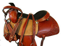 PRO WESTERN ROPING ROPER RANCH COWHIDE LEATHER TRAIL HORSE SADDLE 15 16 17 TACK