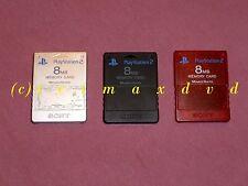 3 Original PS2 Sony Memorycards (je 8 MB) silber, schwarz, rot _ Memory