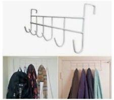 """2 PC WHITE Over The Door Home Office Bathroom Coat Towel 17""""Hanger Rack 6 Hooks"""