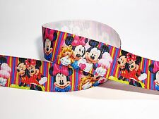 25mm Mickey and Minnie Mouse Stripe Printed Gorsgrain Ribbon -- 3yds