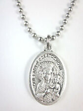 """Our Lady of Czestochowa / St John Paul II Medal Italy Necklace 24"""" Ball Chain"""