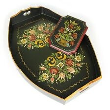 Serving Tray / Drinks Tray - HAND PAINTED ART, Floral Pattern - Matching Plaque