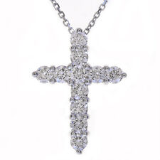 """1.20 Carat Round Diamond Cross on 16"""" Cable Chain 14K White Gold"""