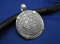 """X-Large .925 Replica Shipwreck Pirate Coin Pieces of Eight Necklace 1.9"""" x 1.5"""""""