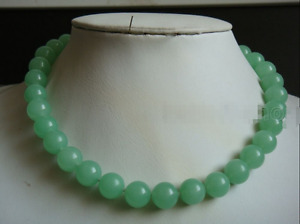 """Natural 10MM Light Green Round Jade Beads Gemstone Necklace 18"""" AAA"""