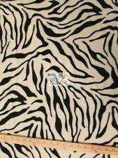 "ZEBRA PRINT POLAR FLEECE FABRIC - White - 60"" WIDTH SOLD BY THE YARD 1"