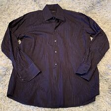 Mens Hugo Boss Purple Black Stripes 16 32/33 Sharp Fit Button Down Dress Shirt