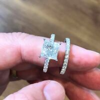 2Pcs/Set 925Silver White Sapphire Ring Engagement Wedding Jewelry Ring For Women
