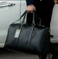 Men's Black Large Weekender Leather Travel-Gym-Duffle Bag