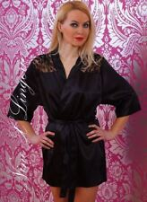 Nine X Satin Dressing Gown Plus Size Lingerie 8-26 Robe With Lace Back Wedding 20 Black