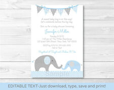 Blue Elephant Chevron Momma & Baby Printable Baby Shower Invitation Editable PDF