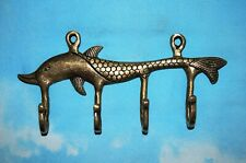 Handmade Brass Dolphin Wall Hook Clothes Key Chin Coat Bag Jacket Hanger RO54