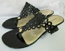Adrianna Papell Boutique 7.5 Black Patent Leather Wedge Thong Sandals Flip Flops