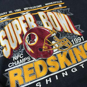 Vtg Washington Redskins Sweatshirt Super Bowl XXVI 26 Size L 1991 NFL 1990s