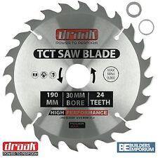 Draak 190mm x 30mm Bore 24 Tooth TCT Circular WOOD Saw BLADE Makita Bosch