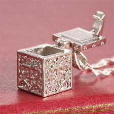 925 Silver Love Cube Pendant Fashion Jewelry Women Men Gift