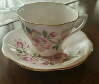 VINTAGE ♡ ENGLAND PINK FLORAL BONE CHINA TEA CUP AND SAUCER ♡ FABULOUS CONDITION