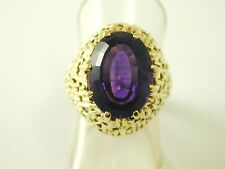 Amethyst solitaire ring vintage gold statement ring size L 6.66 carats 10.3grams