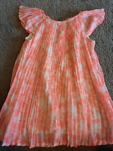 GIRLS H&M SIZE 2-3 YEARS NEON PINK BUTTERFLY & FLOWER DETAIL DRESS