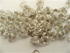 50 Silver - Crystal Bell Flower Czech Glass Beads 6mm x 4mm